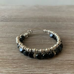 Alex and Ani beaded bracelets silver & black